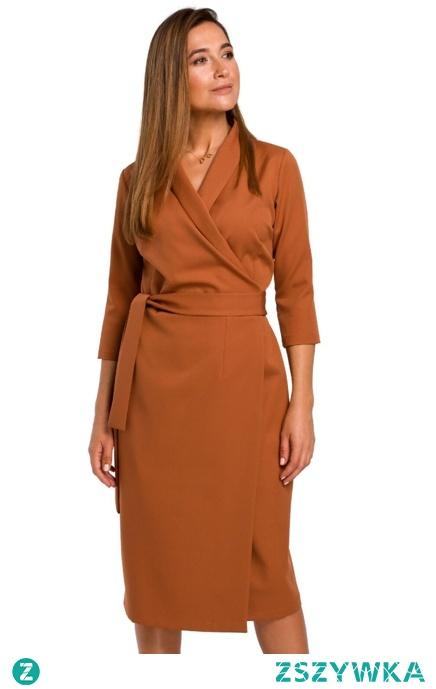 Sukienka z kopertowym dekoltem i szalowym kołnierzem Sukienki.shop