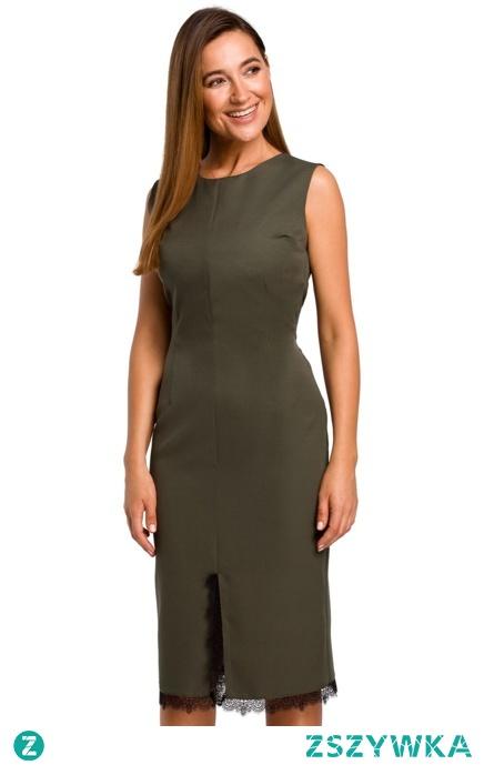 Ołówkowa sukienka z rozcięciem i koronką Sukienki.shop