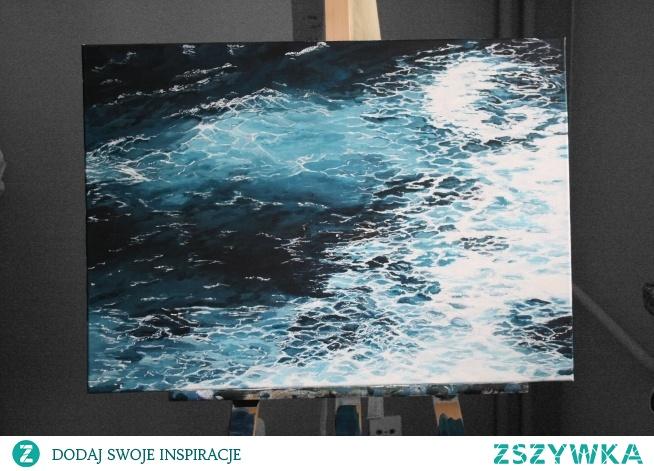 Obraz namalowany przeze mnie farbami akrylowymi na płótnie o wymierach 70 x 50 cm. Inspirowany jest podróżą na północ Portugalii oraz miłością do oceanu. E.P