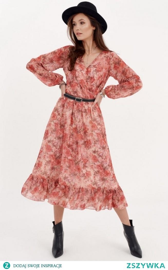 Roco Sukienka midi z falbaną w kwiatuszki 0241/D97