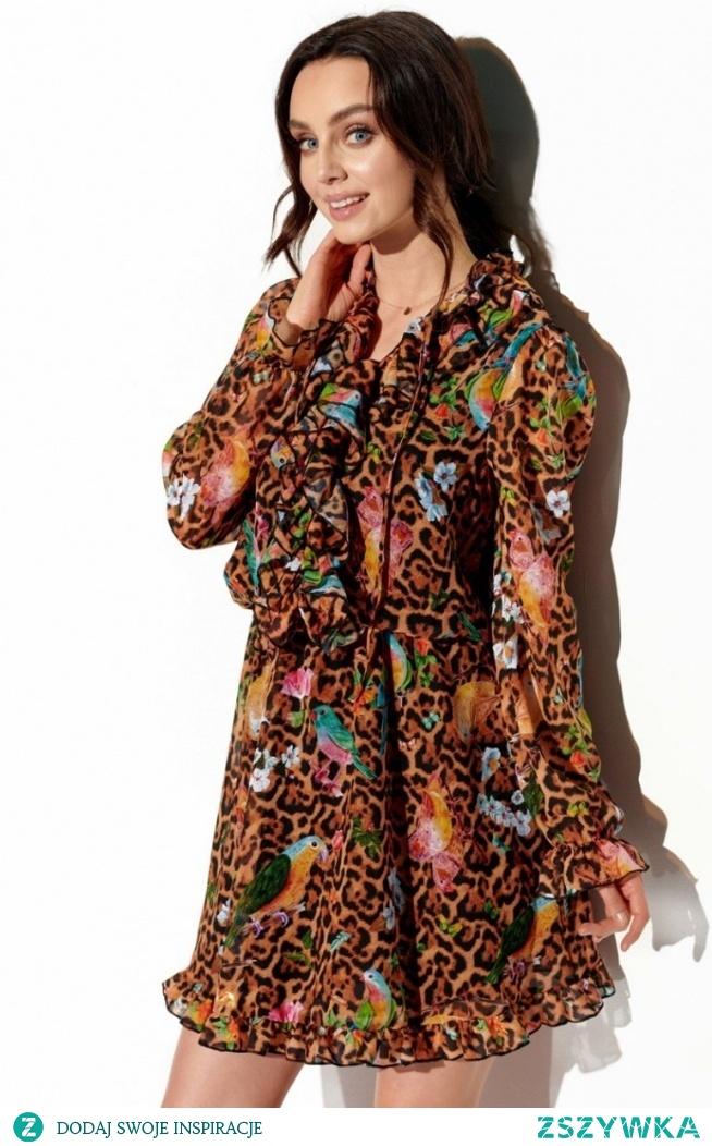 Lemoniade Wzorzysta sukienka z jedwabiem LG518/13