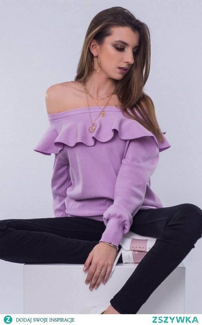 SUE Lawendowy sweter z falbaną Inga