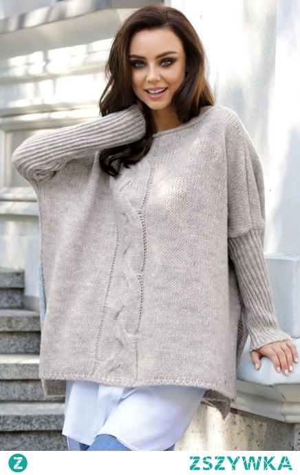 Modny i cieplutki luźny sweter jak ponczo z warkoczem Sukienki.shop