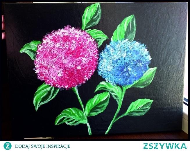 Hortensje, obraz 40 x 30 cm malowany farbami akrylowymi.