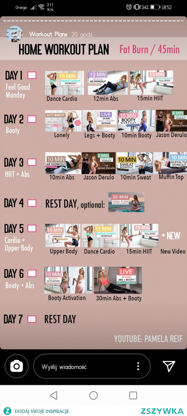 Tygodniowy plan 13.04-19.04 45 min - dla mocno zaawansowanych (killer)