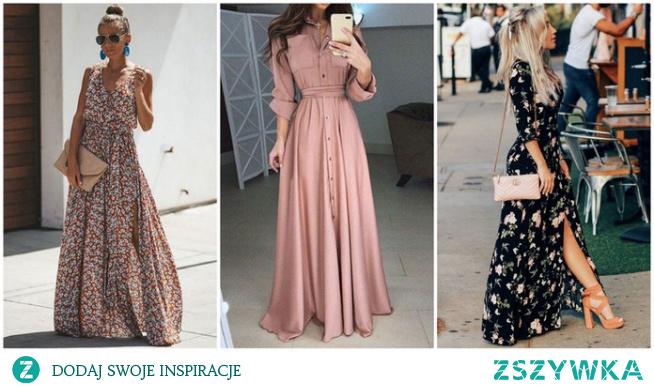 Wiosenne stylizacje z sukienką maxi