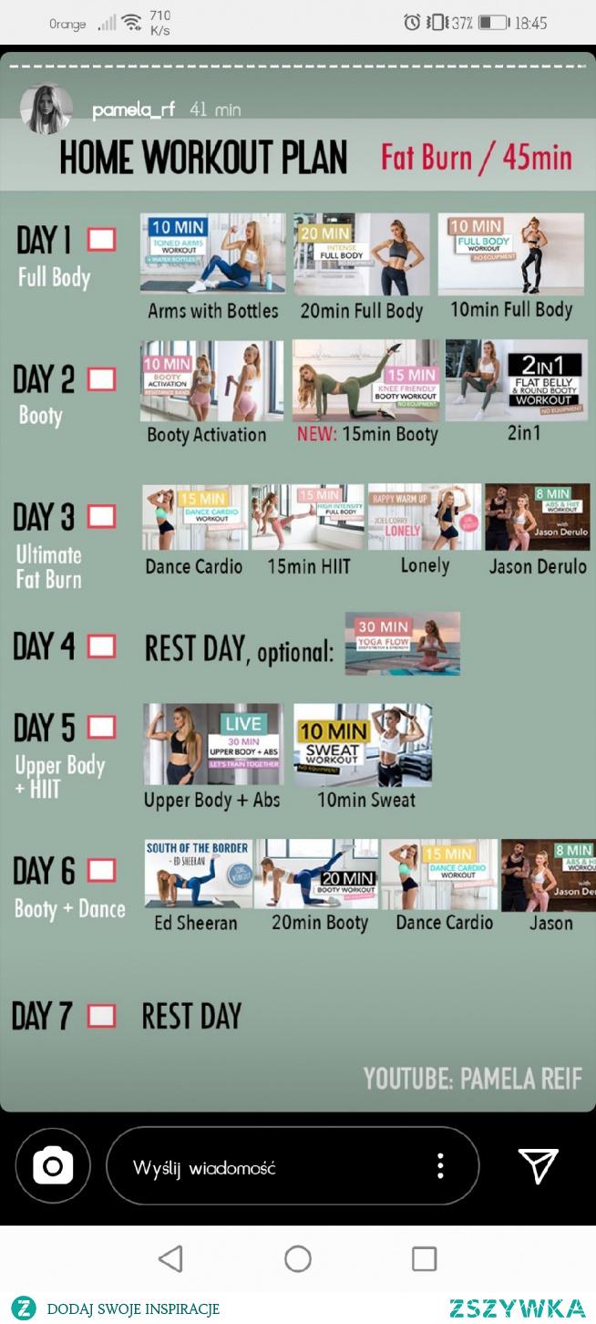 Domowy plan treningowy, Tydzień 7, 20.04-26.04 - 45 min - dla mocnozaawansowanych (killer)