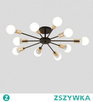 10-Light 10-Head Vintage Metal Semi Flush Mount Ceiling Light Living Room Dining Room Lighting Painted Finish