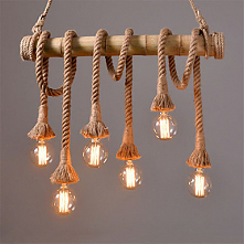 6 Head 80cm Vintage Hemp Rope With Bamboo Pendant Lights Loft Creative Living...