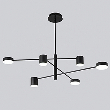 6 Lights LED Industrial Chandelier/ Ambient Light Black Painted for Living Ro...