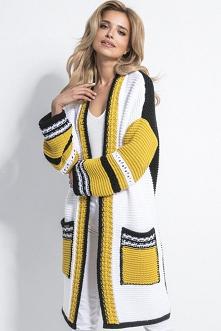 Ekskluzywny sweter kardigan z dużymi kieszeniami | Sukienki.shop