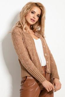 Delikatny krótki ażurowy sweter kardigan na guziki | Sukienki.shop