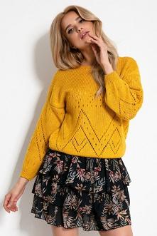 Lekki krótki ażurowy sweter...