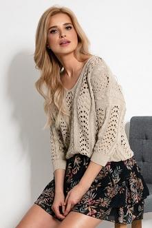 Lekki ażurowy sweter z deko...