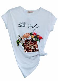 Modna koszulka z zdobieniem z dużych cekinów, z kryształkami i kwiatami 3D. M...