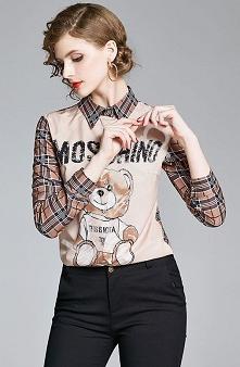 Oryginalna koszula z napisem Moschino i misiem. Modna koszula damska. lejdi.pl