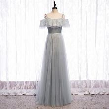 Błyszczące Srebrny Szary Sukienki Wieczorowe 2020 Princessa Spaghetti Pasy Cekiny Kótkie Rękawy Bez Pleców Długie Sukienki Wizytowe
