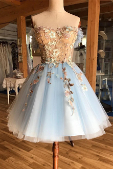 Light Sky Blue Sweetheart Appliques Short Prom Homecoming Dress GM231