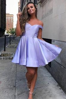 Simple Satin Short Homecoming Dress, A-Line Off-Shoulder Short Prom Dress GM76
