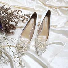 Élégant Ivoire Satin Perle Chaussure De Mariée 2020 Cuir 5 cm Talons Aiguille...