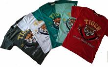 Koszulka chłopięca z aplikacja tygrysa . Cekiny zmieniają kolor.
