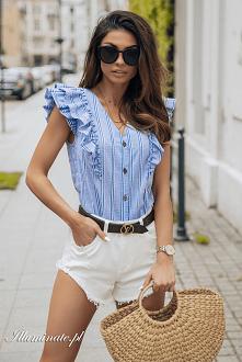 Niebieska rozpinana bluzka ...