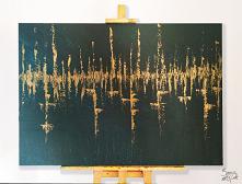 Malowany ręcznie obraz akrylowy o bardzo grubej strukturze farby. Malowany na płótnie rozpiętym na drewnianej ramie. Abstrakcja przedstawiająca port/miasto nad rzeką. Obraz jest...