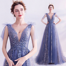 Uroczy Ciemnoniebieski Sukienki Wieczorowe 2020 Princessa V-Szyja Kryształ Cekiny Z Koronki Kwiat Kótkie Rękawy Bez Pleców Długie Sukienki Wizytowe