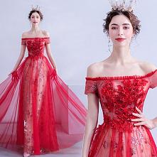 Uroczy Czerwone Sukienki Wieczorowe 2020 Princessa Przy Ramieniu Cekiny Z Koronki Kwiat Kótkie Rękawy Bez Pleców Długie Sukienki Wizytowe