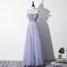 Eleganckie Lawenda Sukienki Wieczorowe 2020 Princessa Spaghetti Pasy Frezowanie Gwiazda Bez Pleców Bez Rękawów Kokarda Długie Sukienki Wizytowe