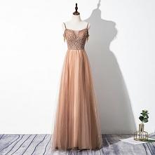 Uroczy Szampan Sukienki Wieczorowe 2020 Princessa Spaghetti Pasy Frezowanie Perła Cekiny Bez Rękawów Bez Pleców Długie Sukienki Wizytowe