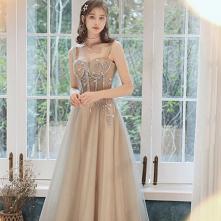 Uroczy Szampan Sukienki Wieczorowe 2020 Princessa Spaghetti Pasy Frezowanie Z Koronki Kwiat Bez Rękawów Bez Pleców Długie Sukienki Wizytowe