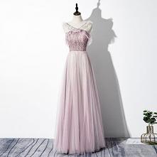 Piękne Rumieniąc Różowy Sukienki Wieczorowe 2020 Princessa V-Szyja Frezowanie Bez Rękawów Bez Pleców Długie Sukienki Wizytowe