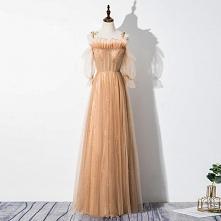Eleganckie Szampan Sukienki Wieczorowe 2020 Princessa Wzburzyć Spaghetti Pasy Frezowanie Gwiazda Cekiny 1/2 Rękawy Bez Pleców Długie Sukienki Wizytowe