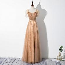 Eleganckie Szampan Sukienki Wieczorowe 2020 Princessa Kwadratowy Dekolt Gwiazda Z Koronki Cekiny Kótkie Rękawy Bez Pleców Długie Sukienki Wizytowe