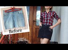Jak przerobić poplamioną spódnicę? DIY grafitowa jeansowa spódnica z ćwiekami