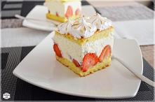Ciasto z truskawkami, kreme...