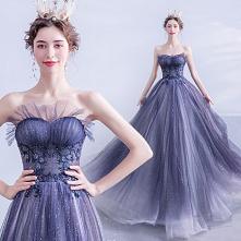 Uroczy Granatowe Sukienki Wieczorowe 2020 Princessa Bez Ramiączek Frezowanie Cekiny Bez Rękawów Bez Pleców Długie Sukienki Wizytowe