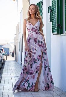 Długa piękna sukienka w kwi...