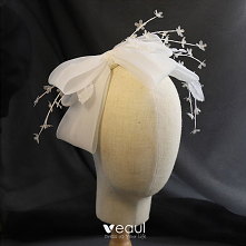 Vintage Białe Obręcz do włosów Ozdoby Do Włosów 2020 Organza Kokarda Frezowanie Ślub Akcesoria