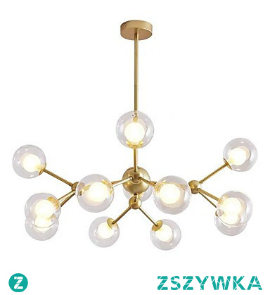 12-Head Nordic Style Chandelier Glass Molecules Pendant Lights Living Room Bedroom Dining Room Painted Finish