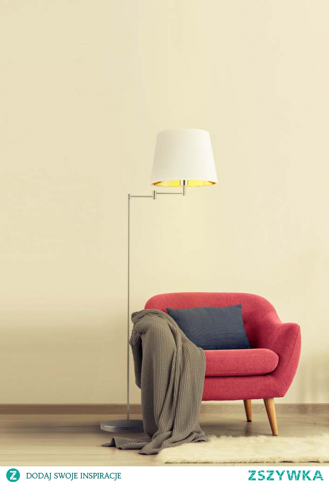 Cenisz sobie funkcjonalne rozwiązania? Potrzebujesz praktycznych dodatków, które nie stworzą w Twoim mieszkaniu chaosu? Jeśli tak to z przyjemnością prezentujemy model lampy podłogowej ASTI GOLD, której design oraz uniwersalność bez wątpienia znajdzie swoje miejsce w Twoim domu! Oryginalna kompozycja lampy składa się z klosza w kształcie stożka, którego zaletą jest wnętrze wyposażone w złotą folię. Wnętrze to posiada dwie faktury powierzchni -połyskliwą oraz zmatowioną. W pierwszej wersji łączy się ona z białym kloszem, natomiast w drugiej z czarnym,zielonym,szarym oraz granatowym. Stelaż lampy posiada ruchomę ramię, które możemy ustawiać w dowolny sposób i ustawiać kąt padania światła wedle naszych aktualnych potrzeb. Czy takie zastosowanie jest warte uwagi? Bezapelacyjnie tak! Posiadając lampę podłogową ASTI GOLD możemy być pewni dobrze rozświetlonego wnętrza przytulnym dla oka światłem, oraz niezwykłej funkcjonalności, która sprawdzać się będzie każdego dnia! Oświetlenie mierzy 165cm wysokości oraz 63cm szerokości, oraz posiada miejsce na jedną oprawkę E27.  Lampa dostępna jest w 5 odcieniach abażura: biały ze złotym wnętrzem (złoty połysk), czarny ze złotym wnętrzem (złoty mat), zieleń butelkowa ze złotym wnętrzem (złoty mat), szary stalowy ze złotym wnętrzem (złoty mat), granatowy ze złotym wnętrzem (złoty mat). Oraz w 6 kolorach stelaża: biały, chrom, czarny, srebrny, stal szczotkowana, stare złoto.