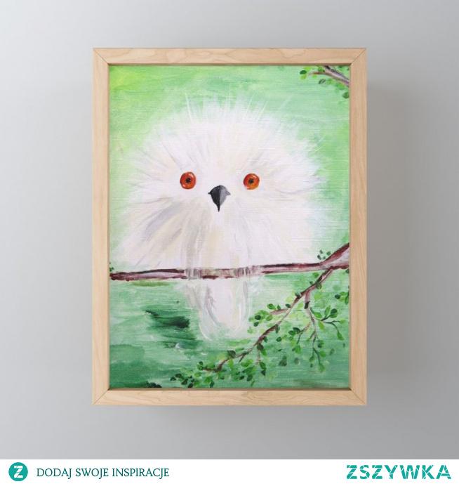 Biała sowa w zielonym lesie Mini Art Print  White owl in a green forest Framed Mini Art Print