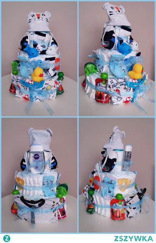Tort z pampersów na prezent z okazji narodzin dziecka