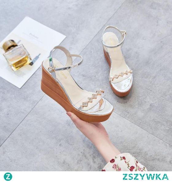 Seksowne Lato Srebrny Zużycie ulicy Sandały Damskie 2020 9 cm Na Koturnie Peep Toe Sandały