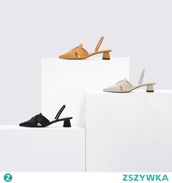 Proste / Simple Czarne Przypadkowy Slingback Sandały Damskie 2020 3 cm Niski Obcas Szpiczaste Sandały