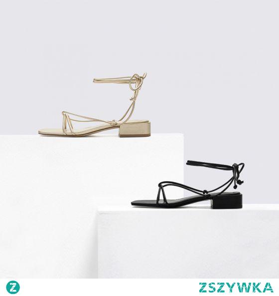 Proste / Simple Lato Czarne Przypadkowy Sandały Damskie 2020 Z Paskiem Peep Toe Niski Obcas Sandały