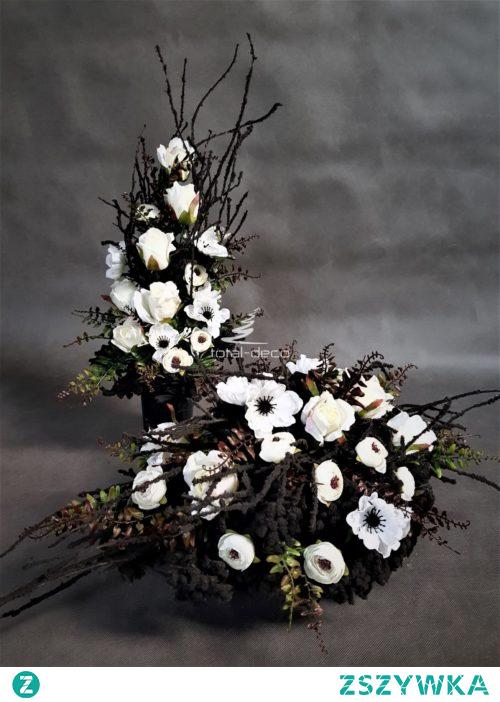 Nowoczesny zestaw dekoracji na cmentarz w czarnym kolorze z białymi kwiatami sztucznymi. Idealny stroik+bukiet od totaldeco na wszystkich świętych , na groby bliskich. Zestaw kompozycji nagrobnych bardzo trwały i gustowny