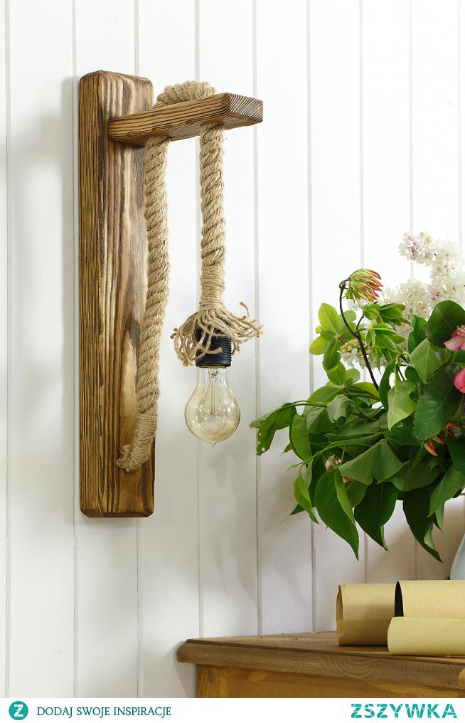 ręcznie robione lampy sznurowe, kinkiet drewniany meble-woskowane.com.pl