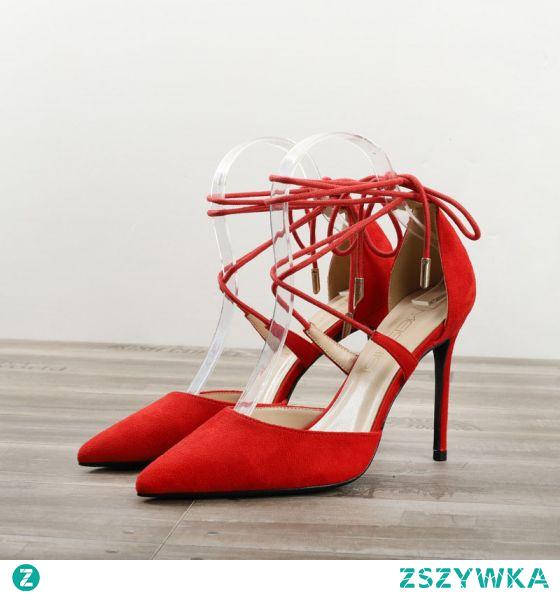 Piękne Czerwone Zużycie ulicy Zamszowe Sandały Damskie 2020 Kokarda Z Paskiem 10 cm Szpilki Szpiczaste Sandały